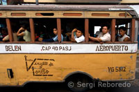 Passenger bus runs between the airport and downtown Iquitos.