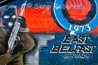 "East Belfast Brigade. One of the loyalist murals at the bottom of the Newtownards Road in East Belfast, Northern Ireland. U.F.F. Mural, East Belfast ""For as long as one hundred of us remain alive we shall never in anyway consent to submit to the Irish for its not for glory, honor or riches we fight but for freedom alone which no man loses but with his life. U.D.A./U.F.F."""
