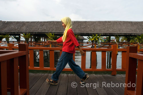 A teenage girl walking on the catwalks of Hotel Dragon Inn in Semporna, a place full of diving agencies, such as sQuba Junkie. Chang Oncle is illegal and is not recommended. Sipadan is well known: the walls with huge schools of barracuda and jacks, turtles and white tip sharks and occasional dull moment blankets and hammers. It is expensive (about 150 euros a day with 3 dives) but it's worth. Some operators (Chang, among others) are not recommended by the material in poor condition and the passivity of their dive masters. Borneo Divers Scuba Junkie and are the best, but often have reservations Sipadan busy for months. Mabul, the island next door, is a great alternative or supplement. Diving is a lot cheaper (50 euros for two dives, including equipment) and for many, even better than Sipadan, in the sense that there are things that only can be viewed, but not so large. The macro life is quite impressive but also look a lot turtles, large groupers and schools of barracudas, fusiliers and jacks. Deserves a lot of pain but you need to go with a good divemaster to show you the animals, which is perfectly camouflaged. Even snorkelling, much cheaper (less than three euros) is great and turtles, among others, are practically guaranteed. You can stay on the island or in the town of Semporna, on the coast, an hour of sailing, and about 8 hours by bus (Gelido for air conditioning) from Kota Kinabalu.