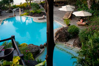 Aitutaki. Cook Island. Polynesia. South Pacific Ocean. Luxury hotel. Seaside swimming pool at the Hotel Pacific Resort Aitutaki.  Pacific Resort Aitutaki is located on a tropical atoll in the Pacific Ocean. Pacific Resort Aitutaki is limited to just 27 luxurious absolute beachfront bungalows, suites and villas. All rooms have their own person panoramic views of Aitutaki's world famous lagoon. For the first time ever, Pacific Resort Aitutaki scooped up the 'South Pacific Property of the Year' award at the HM Awards held in Sydney on September 6. Pacific Resort Hotel Group (PRHG) is also pleased to announce that Deputy CEO Marcus Niszow was awarded the 'High Commendation' award in the 'South Pacific General Manager of the Year' category. We are delighted to inform you that Pacific Resort Aitutaki will soon be commencing construction to convert one of our Premium Beachfront Bungalows into a 1 bedroom Ultimate Beachfront Bungalow. This will result in our inventory comprising two 1 bedroom Ultimate Beachfront Bungalows once construction is complete.  Construction will commence on 26th April 2013 and will take approximately 5 weeks to complete. Our team at Pacific Resort Aitutaki will ensure that our guests are assigned away from the bungalow being worked on, with the bungalows either side being assigned last. You may be rest assured that we will do all possible to minimize the impact of this work on the experience of our guests staying over this construction period.