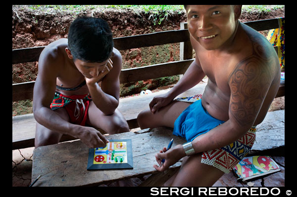 Playing Parcheesi in the village of the Native Indian Embera Tribe, Embera Village, Panama. Panama Embera people Indian Village Indigenous Indio indios natives Native americans locals local Parque National Chagres. Embera Drua. Embera Drua is located on the Upper Chagres River. A dam built on the river in 1924 produced Lake Alajuela, the main water supply to the Panama Canal. The village is four miles upriver from the lake, and encircled by a 129.000 hectare National Park of primary tropical rainforest. Lake Alajuela can be accessed by bus and mini-van from the city of Panama. It lies an hour from the city, close to the town of Las Cumbres. From a spot called Puerto El Corotu (less a port than a muddy bank with a little store that serves as a dock to embark and disembark from canoes) on the shore of the lake, it takes 45 minutes to an hour to climb up the Rio Chagres to Embera Drua ina a motorized dugout. The village was founded in 1975 by Emilio Caisamo and his sons. They first called it community 2.60 as it was the name of the meteorological station constructed by the Panama Canal Commission located a little up river from the present community. The sons married and brought their wives to live in the community which later attracted more families. Most of the villagers moved out from the Darien Region--increasingly dangerous due to incursions by Colombian guerillas and drug traffickers--and to be closer to the city to have better access to its medical services and educational opportunities. In 1996, villagers adopted a name that reflects their identity and began to call their community Embera Drua. In 1998, the village totaled a population of 80. The social and political leadership of the village is divided between the Noko or village chief, the second chief, the secretary, the accountant and all the committees. Each committee has its president, and accountant, and sometimes a secretary. Embera Drua has a tourism committee that organizes itineraries and activities for groups of visitors and an artisans committee to assist artists in selling their intricate baskets and carvings. Such organization is a relatively new phenomenon but it is inspiring to see how the community has embraced it. The village of Embera Drua has its own NGO. Its goals are to support the village and promote tourism and its artisans. Thanks to their efforts, villagers of Embera Drua now own titles to their land. Their main goals are to assist the village in becoming economically self-sufficient. People from the village of Parara Puru lower down Chagres, have joined the NGO as well. If you would like to support their NGO, contact them directly.The climate is tropical with two distinct seasons. The rainy season lasts about seven months from April to October and the dry season is from November to March. The temperature is fairly constant during the year and varies from the high 80's (high 20's C) during mid-day to the 70's (low 20's C) at night. The landscape protects the village from the strong winter winds yet keeps it breezy enough that the village is almost free of biting insects.