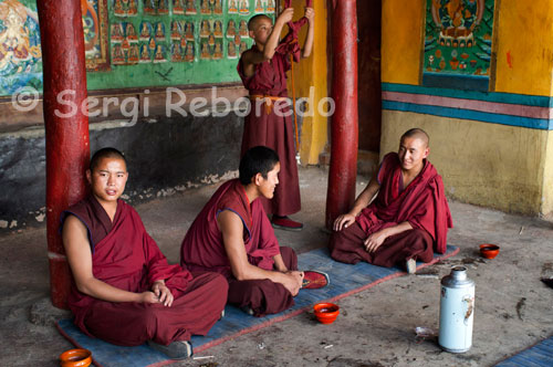 Monks inside the Tashilumpo Monastery, located in Shigatse, Tibet. Tashilumpo Monastery, the jewel of the monumental city of Shigatse, the official residence of the Panchen Lama, the second figure hierarchy of Buddhism after the Dalai Lama.