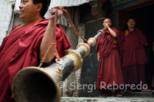 A Tibetan monk plays trumpet inside the Tashilumpo Monastery, located in Shigatse, Tibet. Trumpet cylindrical giant whose length can exceed 5 meters. Copper is usually decorated with various pieces gold or silver (once used silver and gold). It consists of several parts as a telescope, fit together. The mouth is wide and flat. They are played in pairs, producing a continuous sound, serious and deep, capable of reaching distances. To touch is to relax and make the lips vibrate like a whinny. You can change the pitch by increasing or decreasing the air pressure. It is shocking to hear a mysterious sound when a teacher arrives at a major monastery. The pair is placed on your roof and solemn tolling as welcome as the sound fills valleys and mountains.