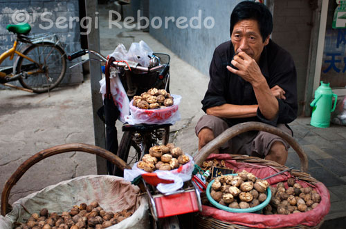 Seller of nuts in the Muslim Quarter of Xi'an. It's a place that is always lively. In the street ovens are made delicious cakes of bread which you can then add plenty of ingredients, the tasty sweet fried with sesame oil also play an important role, as well as nuts that are located five steps. The neighborhood meeting location is The Great Mosque is located in the heart of the souk.