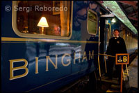 Orient Express. Exterior of the Hiram Bingham Orient Express train runs Which entre Cuzco and Machu Picchu Moments Before leaving.