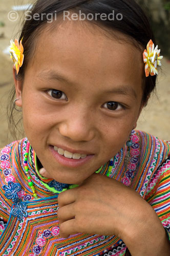 Retrato de una mujer de la étnia Hmong Flower. Bac Ha.